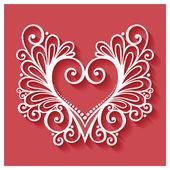 Deco Floral hart op rode achtergrond — Stockvector