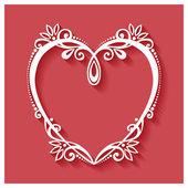 Deco Floral καρδιά σε κόκκινο φόντο — Διανυσματικό Αρχείο