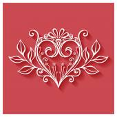 Deco Floral Heart on Red Background — Stok Vektör