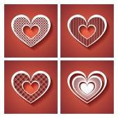 Set of Deco Hearts on Red Background. — Stock Vector