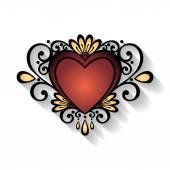 Deco Floral Heart — Vettoriale Stock