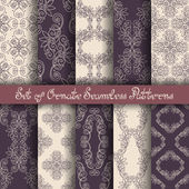 Set of 10 Ornate Seamless Patterns — Stock Vector