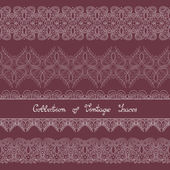 Set of Vintage Template with Ornate Laces — Stock Vector