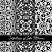 Set of 3 Seamless Vintage Patterns — Stockvector