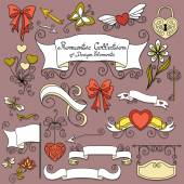 Romantic Collection of Hand Drawn Design Elements — Stock Vector