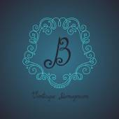 Vintage Template with Ornate Monogram — Vector de stock