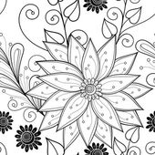 Seamless Abstract monochrome floral Pattern — Wektor stockowy