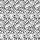Бесшовные абстрактный монохромный цветочный узор — Cтоковый вектор