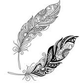 Monochrome Ornate Decorative Feather — Stock Vector