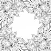 Seamless Abstract monochrome floral Pattern — Vecteur
