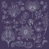 Vector ornate flowers and bugs Collection — Stock Vector
