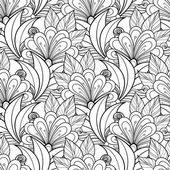 Seamless Abstract monochrome floral Pattern — Vector de stock