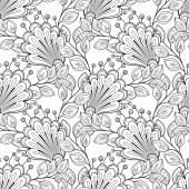 Seamless Abstract monochrome floral Pattern — Stock Vector