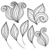 Set of monochrome contour leaves — Cтоковый вектор