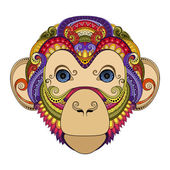 Colored Ornate Monkey Head — Stock Vector