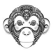 Ornate Monkey Head — Stock Vector