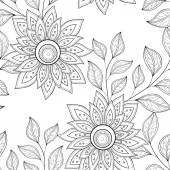 Seamless Monochrome Floral Pattern — Stock Vector
