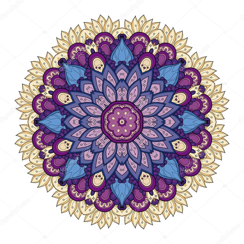Deco hermoso ornamento de colores mandala vector de - Colores para mandalas ...