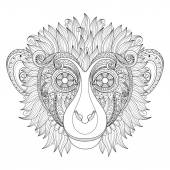 Monkey Head with Tribal Ornament — Stock Vector