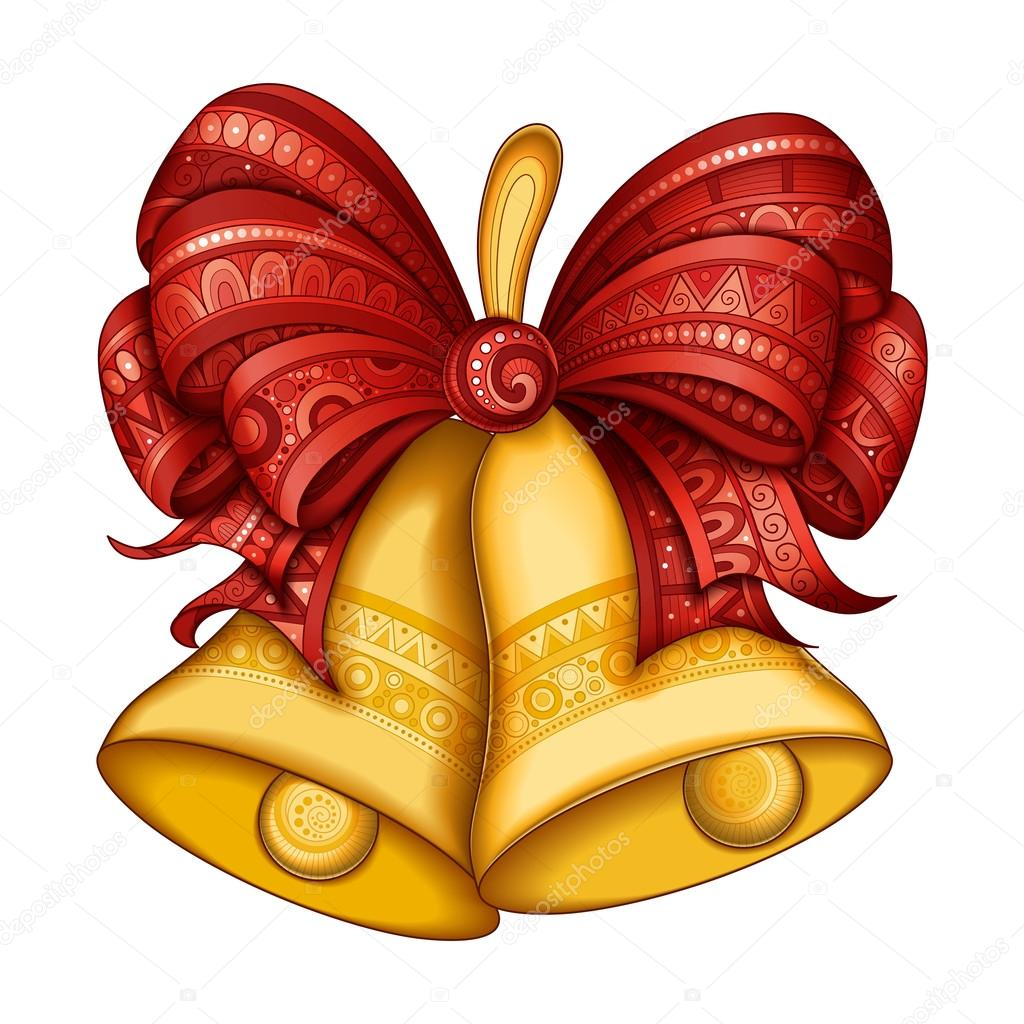 Campanas de oro de navidad con lazo rojo archivo - Dibujos navidad en color ...