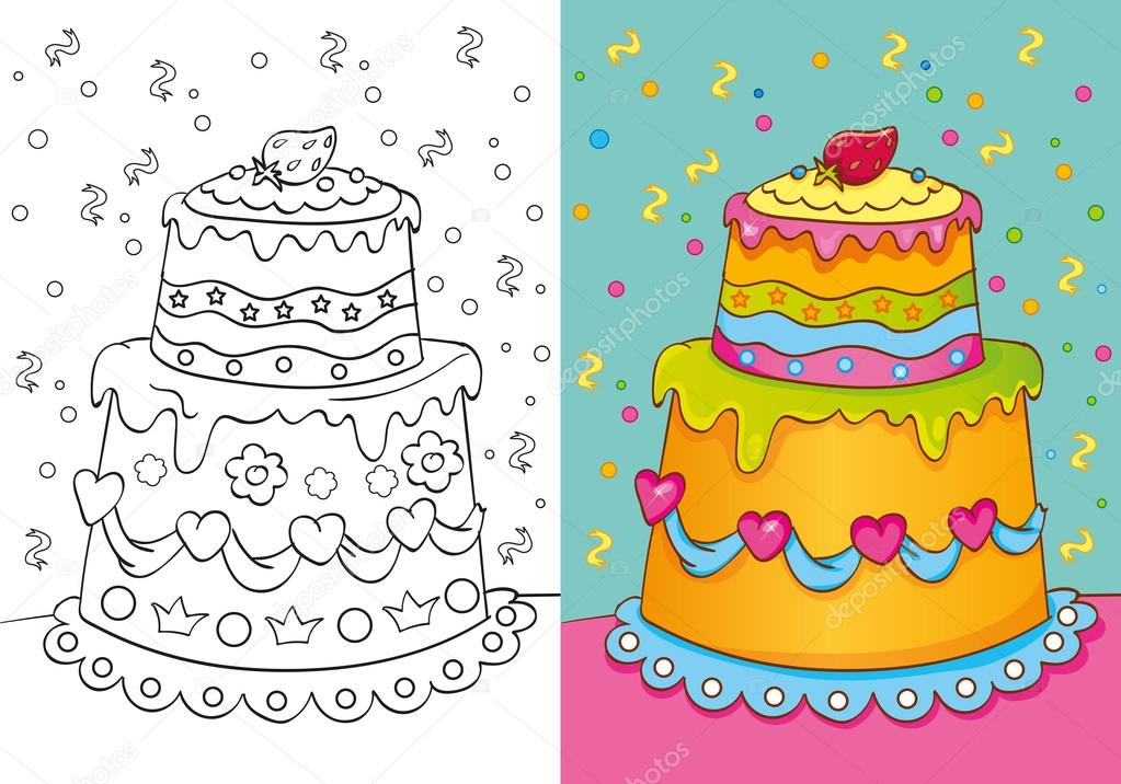 Как украшать торт раскраску