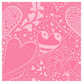Background with floral and hearts ornament — Vecteur