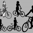 Bicyclists Silhouettes — Stock Vector #56071077