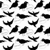 Raven Seamless Pattern — Stock Vector