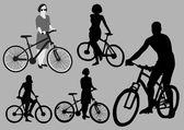 Radfahrer-silhouetten — Stockvektor