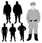 Silhueta de soldados — Vetorial Stock