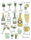 Alcohol Doodles Set — Stock Vector
