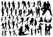 Human dancing silhouettes — Stock Vector