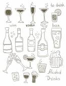 Alcohol Doodles Set — Wektor stockowy