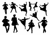 Folk dancers silhouettes — Stock Vector