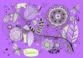 Hand Drawn Doodle Flora — Stock Vector