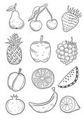 Set silhouettes of fruits — Stock vektor
