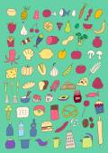 Set of hand drawn food — Stock Vector