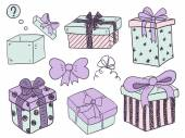 Hand drawn gift boxes — Stock Vector