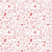 Girlish romantic seamless pattern — Vector de stock