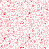 Girlish romantic seamless pattern — Stock vektor