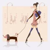 Girl with dog on the urban scene — Stock Vector