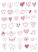 Hearts doodles set — Stockvektor