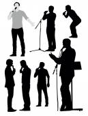 Singing men silhouettes — Stock Vector