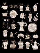 Coffee doodles set — 图库矢量图片
