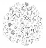 Rabiscos de frutas e vegetais — Vetor de Stock