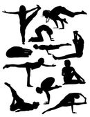 People silhouettes doing yoga — Vettoriale Stock