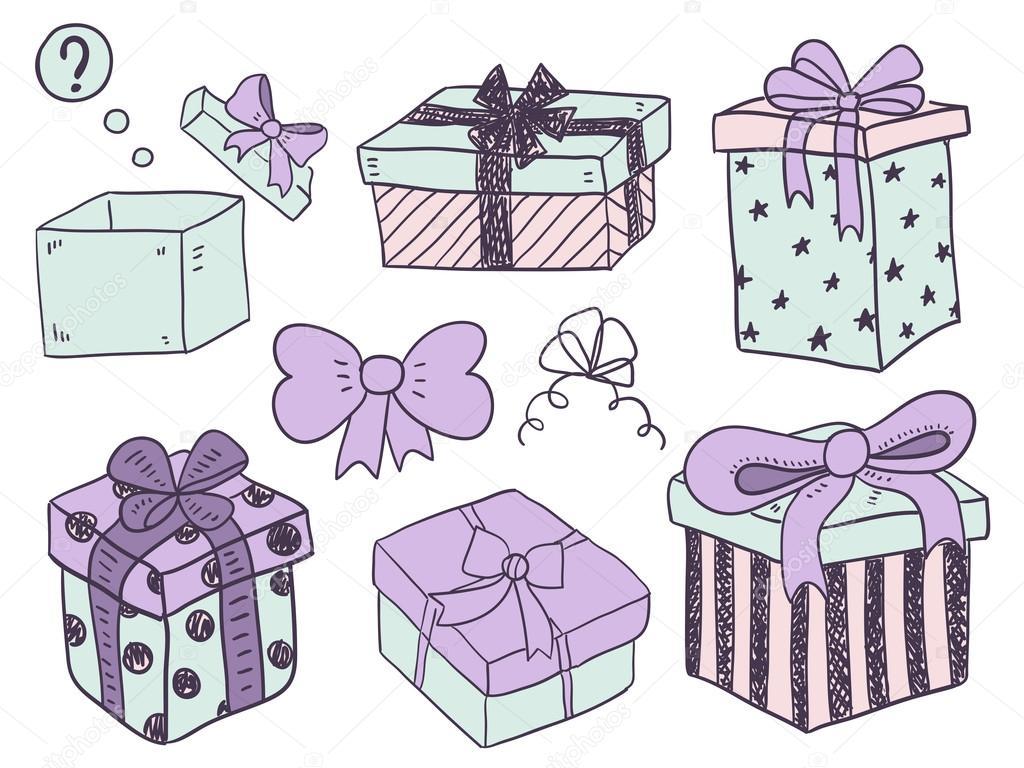 Коробка с подарком нарисованная 88