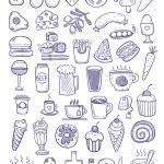 Purple food doodles — Stock Vector #74461499