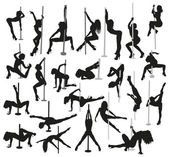 Female strippers silhouettes — Stockvektor