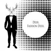 Black fashion deer — Stock Vector